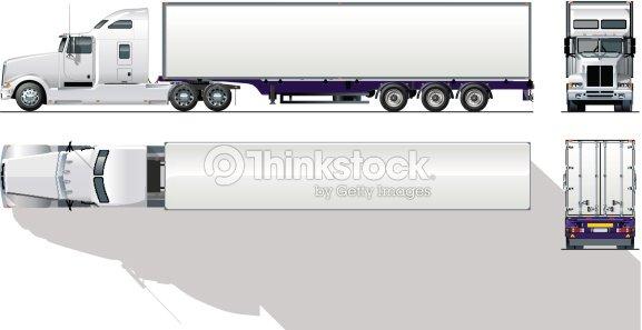 Hautedétaillé Semi Camion Commercial Clipart Vectoriel