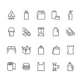 High density polyethylene flat line icons. HDPE products jerry can, plastic canister, pipe, milk jug, garbage container vector illustrations. Packaging thin signs. Pixel perfect 64x64 Editable Strokes