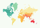High detail world map with color. All elements are seperated in editable layers. Vector illustration
