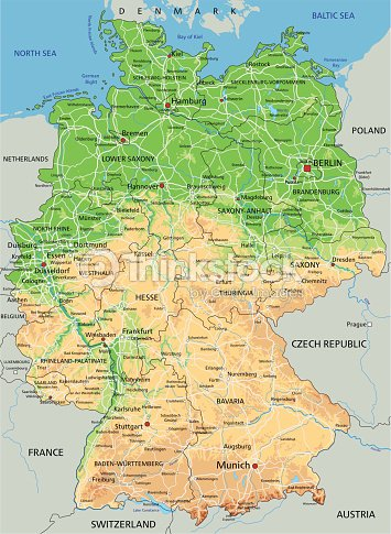 High Detailed Germany Physical Map Vector Art Thinkstock - Germany physical map