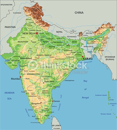 High Detailed India Physical Map Vector Art | Thinkstock