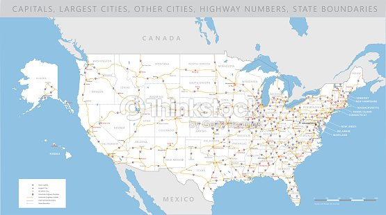 High detailed usa road map vector vector art thinkstock high detailed usa road map vector vector art gumiabroncs Image collections