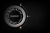 High Energy level concept - Efficiency level control button on high position. vector illustration