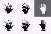 High Five Icon set. Vector hands celebrating with a high-five