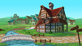 A high quality horizontal seamless background - village. Old European village. Summer background with buildings use for infographics and side-scroller games.