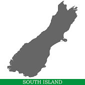 High quality map of South Island is the island of New Zealand