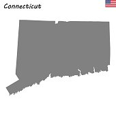 High Quality map state of United States. Connecticut