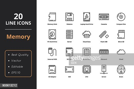 20 High quality Memory Line Icon : stock vector