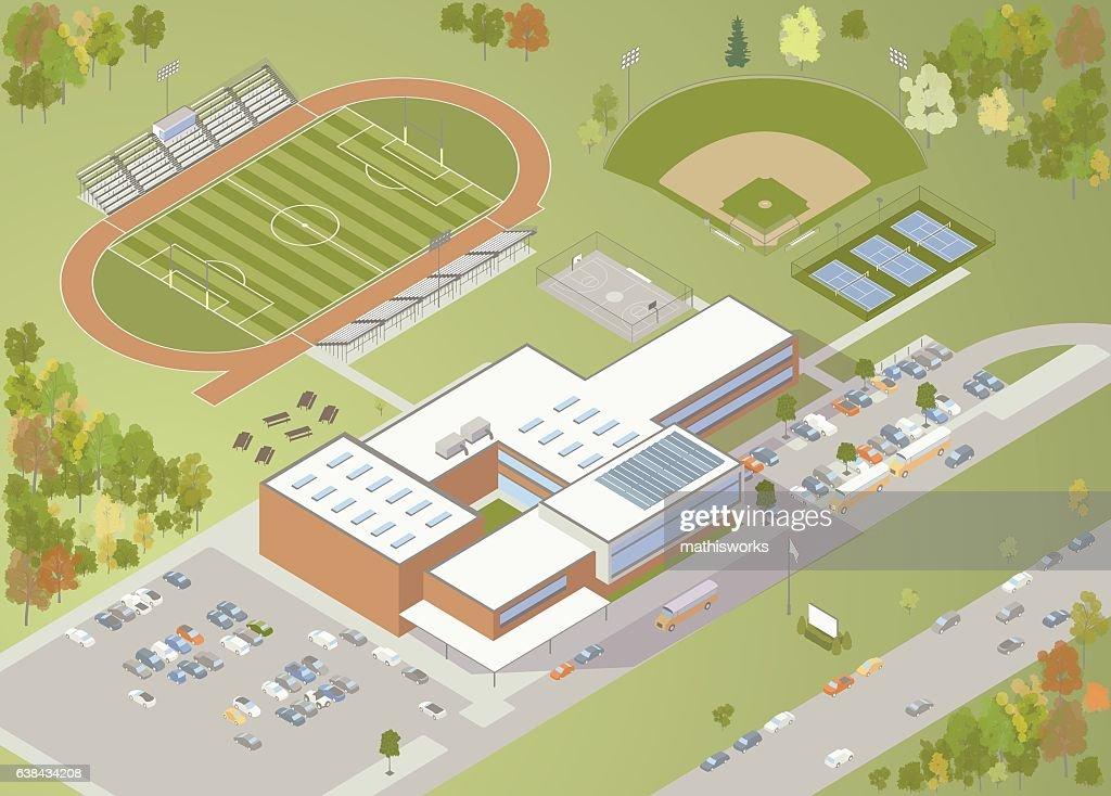 High School Building Illustration : Vector Art