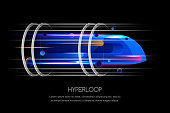 High speed futuristic train, hyperloop, vector multicolor dynamic illustration. Future express transport trendy design concept