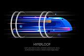 High speed futuristic train, hyperloop, vector multicolor dynamic illustration. Future express transport trendy design concept