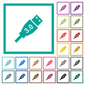 High speed USB flat color icons with quadrant frames on white background