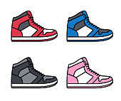 Sports shoe icon set. High top sneakers in different colors. Isolated vector illustration.
