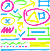 Highlighter vector marks. Color marker stripes, strokes and arrows. Arrow mark colored line, marker stroke scribble for highlighter illustration