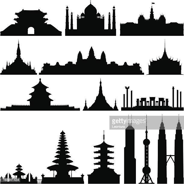Sehr detaillierte asiatische Monumente