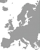 Highly detailed Europe map dots, dotted Europe map vector outline, pixelated Europe map in black and white illustration background