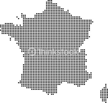 Highly Detailed France Map Dots Dotted France Map Vector Outline