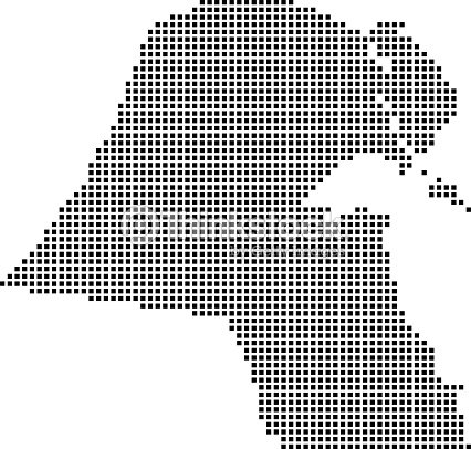 Highly Detailed Kuwait Map Dots Dotted Kuwait Map Vector Outline ...
