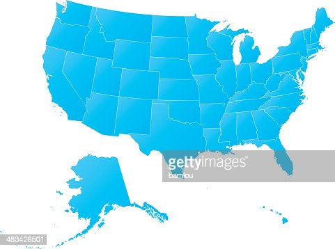 Highly Detailed Map Usa All States Outlined Grunge Style Vector - Usa map with all states