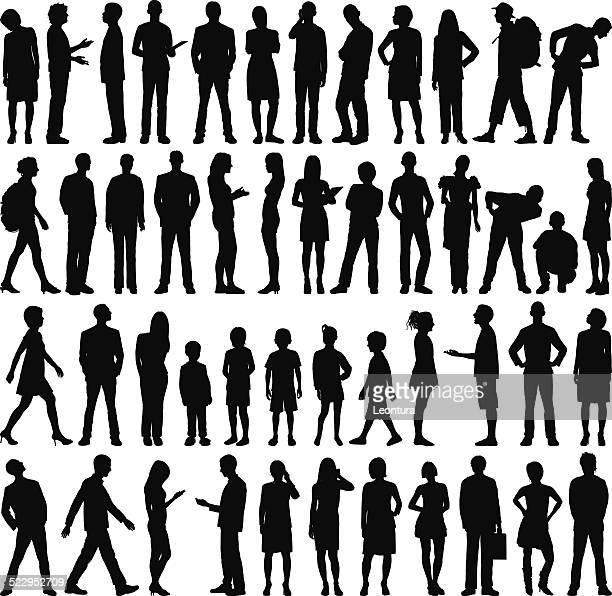 Sehr detaillierte Personen Silhouetten