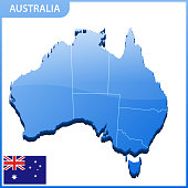 Highly detailed three dimensional map of Australia. Administrative division.