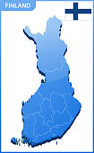 Highly detailed three dimensional map of Finland. Administrative division.
