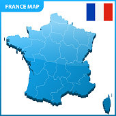 Highly detailed three dimensional map of France. Administrative division.