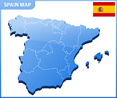 Highly detailed three dimensional map of Spain. Administrative division.