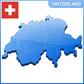 Highly detailed three dimensional map of Switzerland. Administrative division.