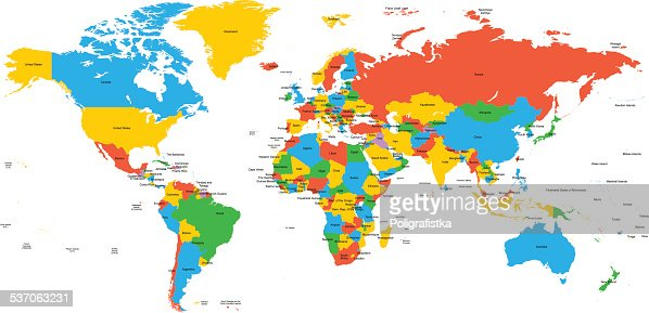 hight detailed divided and labeled world map vector art ty images