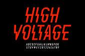 Danger! Hight voltage style modern font design, alphabet letters and numbers