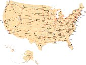Highly detailed map of United States with roads, states,  state capitals, important cities, rivers and major lakes.