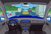 Highway, road viewed inside automobile. Highway inside automobile, road inside automobile, transportation traffic inside automobile. Vector illustration