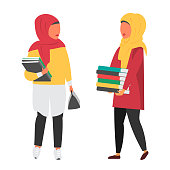 Muslim female student in hijab. Woman studying with books. Education Vector illustration.