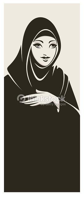 hijab stil sch ne arabische muslimische frau vektorgrafik. Black Bedroom Furniture Sets. Home Design Ideas
