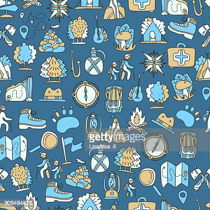 Hiking And Trekking Travel Seamless Pattern Endless Repeatable