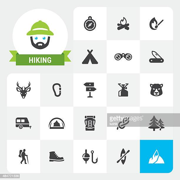 Hiking base vector icons and label