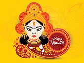 shubh navratri artistic text background with goddess durga, poster or banner of indian festival navratri celebration. vector Illustration