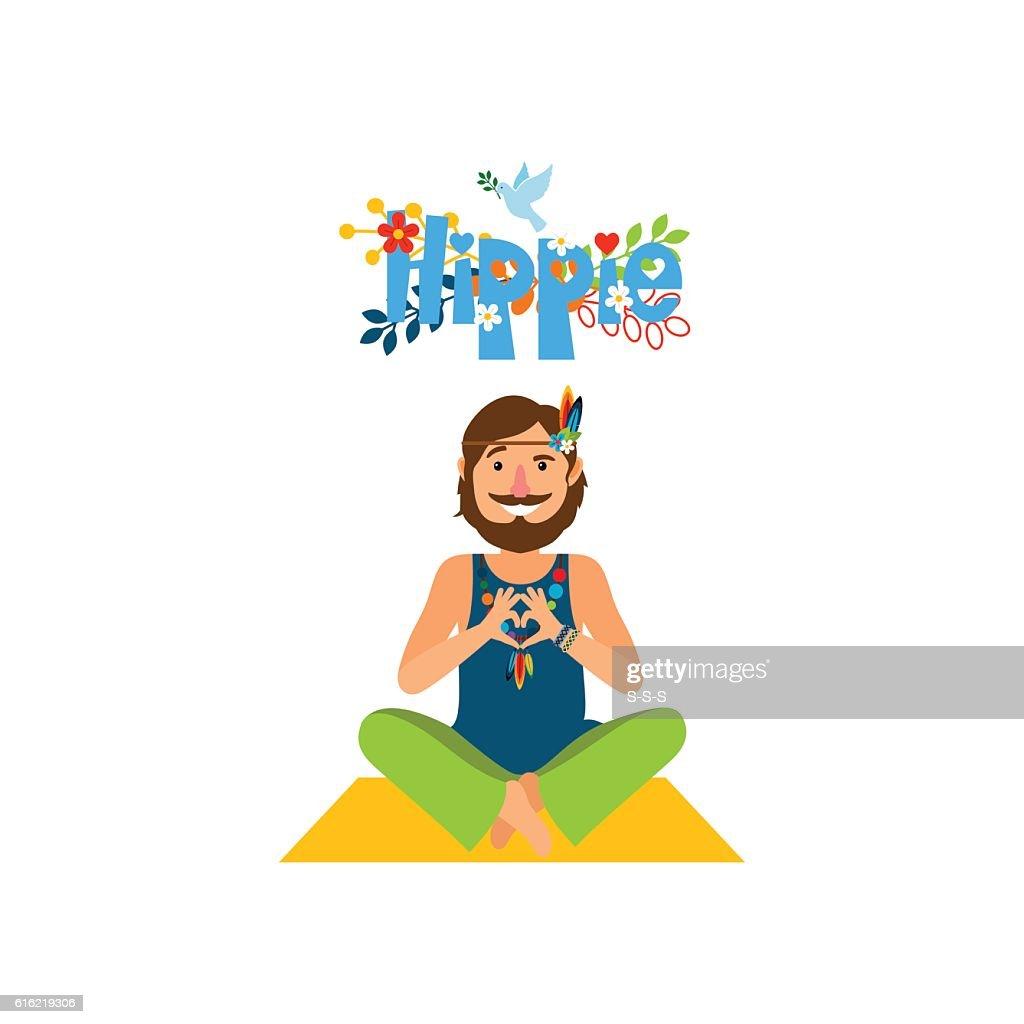 Hippie barefoot man sitting : Vector Art