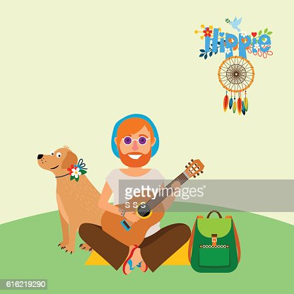 Hippie barefoot man with dog : Vector Art