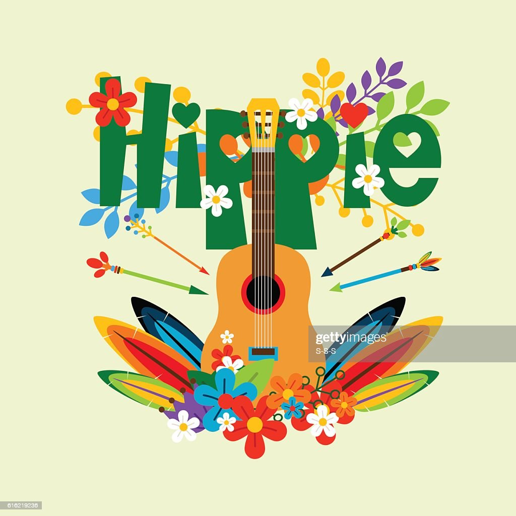 Hippie illustration with guitar and flowers : Vector Art
