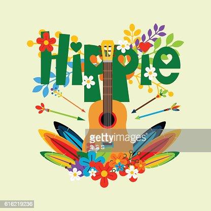 Hippie illustration with guitar and flowers : Vektorgrafik