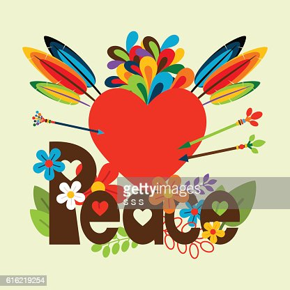 Hippie illustration with heart : Clipart vectoriel