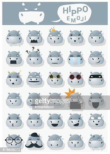 Hippopotamus emoji icons : Vector Art