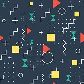 Hipster dark Pattern Abstract Retro 80's Jumble Geometric Line Shapes. fashion style seamless  background. Vector illustration for textile fabric design, paper and website design
