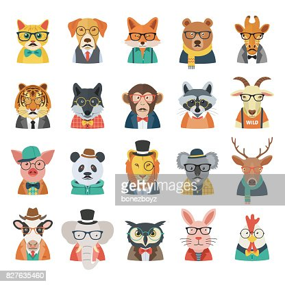 Hipster Animal Set : Vector Art