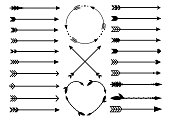 Hipster arrows. Arrows in boho style. Tribal arrows. Set of Indian style arrows. Vector collection