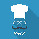 Hipster chef  hat with mustache and glasses. Foods Service icon. Menu card with long shadow.  Simple flat vector illustration, EPS 10.