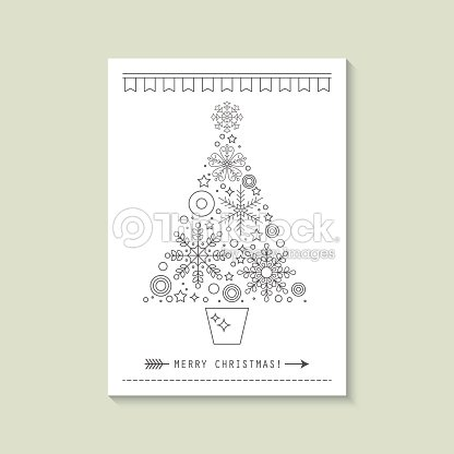 hipster christmas greeting card design with flat line christmas tree