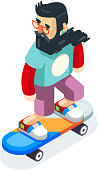 Hipster Geek Scater Ride Scateboard Character Cartoon Icon Isometric Design Vector Illustration